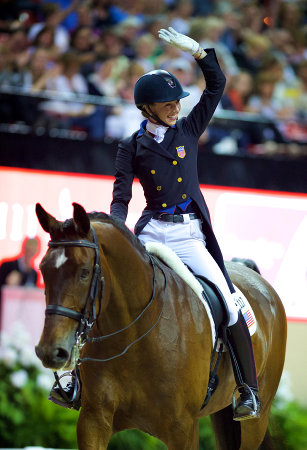 Best-placed American Laura Graves waves to her fans after finishing fourth with Verdades in the Reem Acra FEI World Cup™ Dressage Final in Las Vegas (USA). Equestrian - Reem Acra FEI World Cup™ Dressage Final in Las Vegas (USA) 16/05/2014 - 18/05/2014 ©FEI/Arnd Bronkhorst/Pool