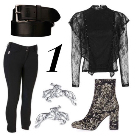 TopShop: Lace Ruffle Stud Top: $85.00, Merlot Sequin Boots: $170.00 SmartPak: Tailored Sportsman Trophy Hunter Breech: $189.95, Pikeur Saphira Show Coat: $529.00, Tory Leather Trim Stitched Belt: $79.95, Jumper Stud Earrings: $28.95