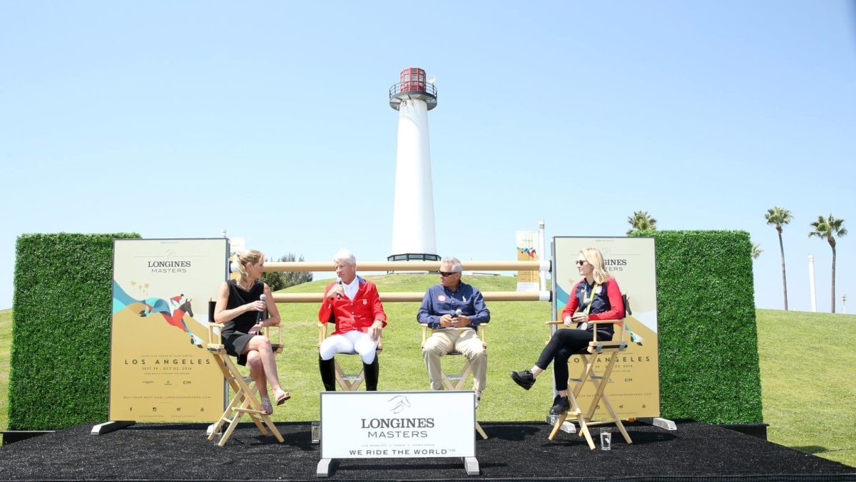 Moderator Debbie Emery, Rich Fellers, Will Simpson and Lucy Davis attend the Longines Masters of Los Angeles preview at Shoreline Aquatic Park in Long Beach. Phillip Faraone/Getty Images