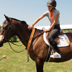 Jessica Springsteen helped to showcase adoptable rescue horses from Our Farm Equine Rescue in North Salem, NY at the seventh annual ASPCA Adoption & Animal Welfare Day at the Hampton Classic Horse Show on August 29th (Photo Courtesy of Geoff Tischman/ASPCA)