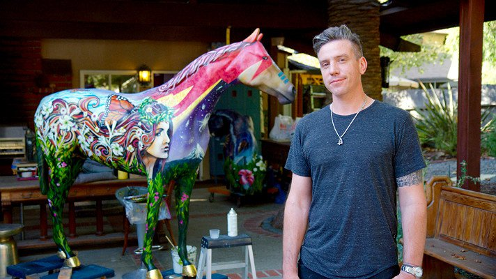 "Clinton Bopp at his studio with ""Stardust"" 