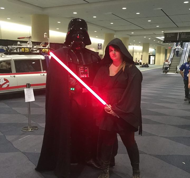 The author with Darth Vader himself, utilizing tall boots and rust-coloured breeches for more than just an equestrian fashion statement.