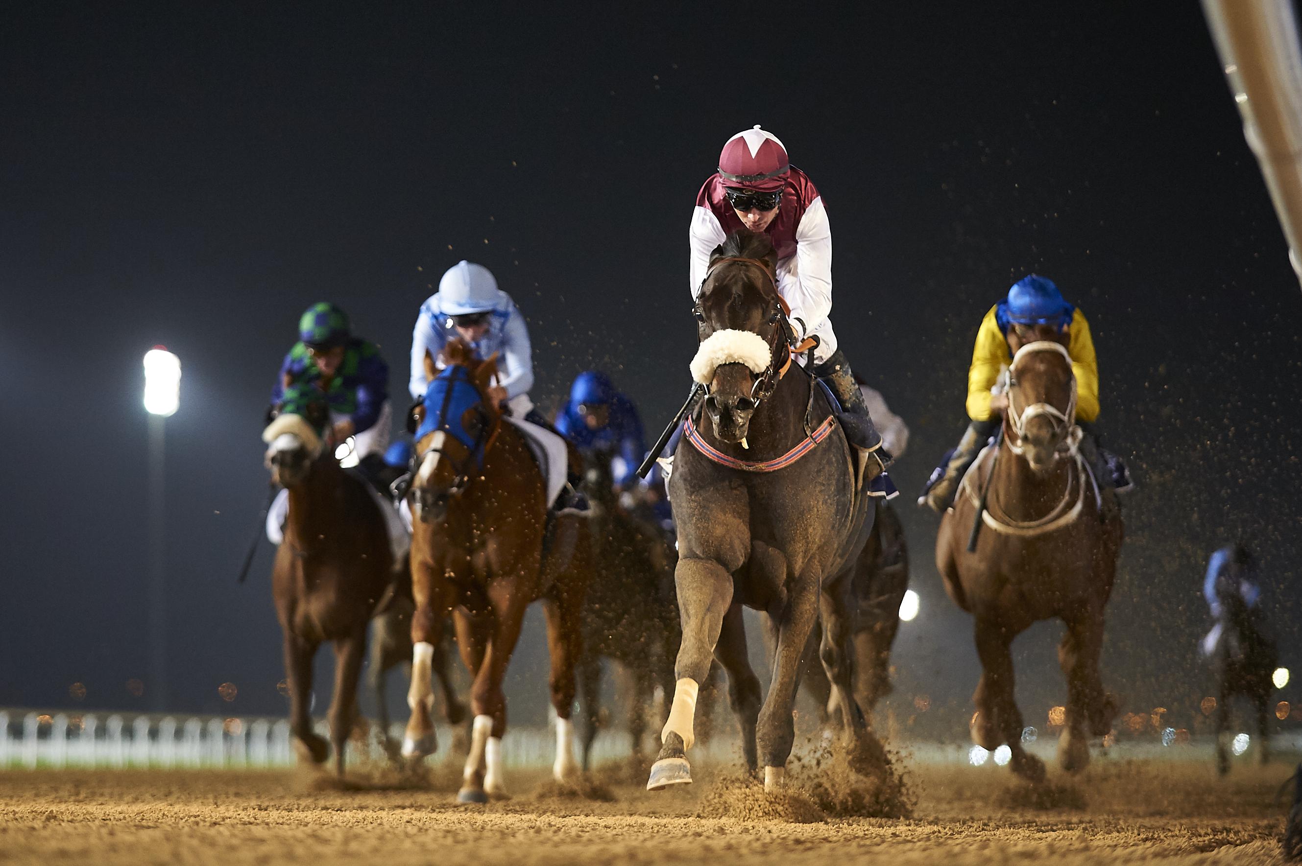 Le Bernardin powers to his second consecutive Al Maktoum Challenge R1 win. ©Dubai Racing Club/Andrew Watkins