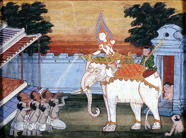 A royal white elephant is the subject of a late 19th century Thai painting in the Walters Art Museum. (Public Domain via Wikimedia Commons).