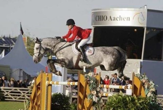 Candice King riding Skara Glen's Davos in Aachen, 2010. (Courtesy of Candice King)