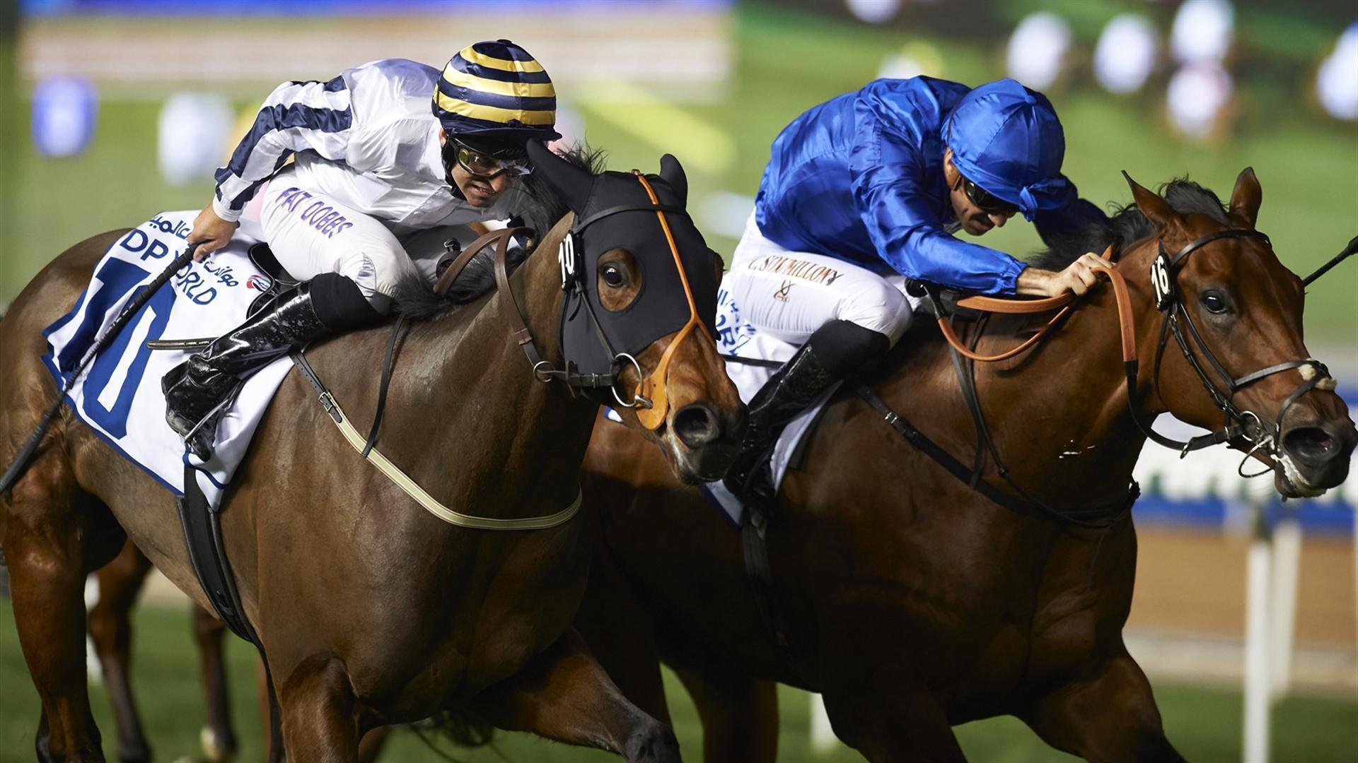 Final Venture and Pat Dobbs draw away on the outside. ©Andrew Watkins/Dubai Racing Club